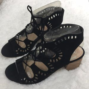 Lace up wood heel sandal